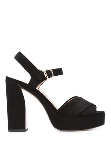 Tory Burch Platform Topuklu %100 Deri Sandalet Siyah